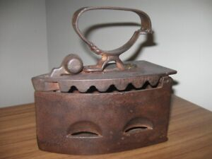 ANTIQUE CAST IRON SAD IRON-COAL/CHARCOAL HEATED from the 1800'S