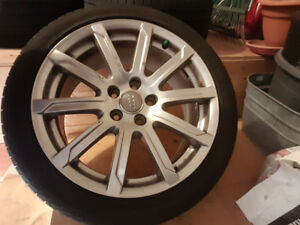 "OEM 18"" Audi Multi Spoke Rims with slightly used Pirelli Tires"