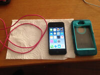 Black IPhone 4S with Otterbox and Charger