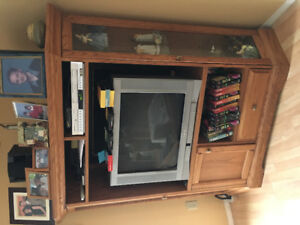 **REDUCED!!  Entertainment unit with curio shelves