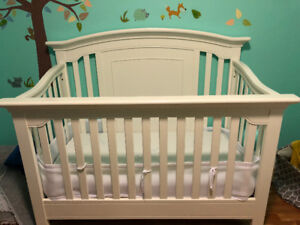 Crib, white and crib mattress.