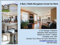 2 bed, 2 bath bungalow condo for rent
