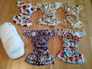Cloth diapers: 1 Kawaii and 4 Kawaii Green Baby with inserts