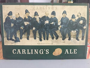 "Carling's ""Red Cap"" Ale ""Nine Pints of The Law"" Tin Sign"