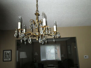 Chandelier gold tone candlestick call 905-472-5908
