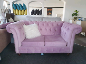 CLEARANCE SALE! NEW Pink Velvet 2 Seater Chesterfield DELIVERY AVAILAB