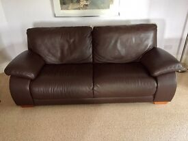 4 seater brown soft leather sofa