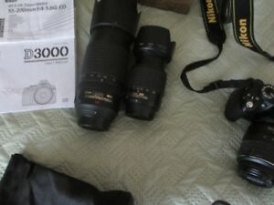 Nikon D3000 with a AF-S 18- 55mm/55-200mm/AF-S 70-300 VR bundle.
