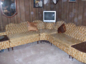 older Antique couch. 5 piece ,  with Whiskey cabinet