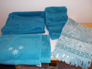 6 Blue Towels Some are Decorative     $10