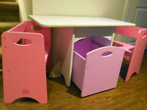 KidKraft Four-Piece Table, Bench Chairs and Rolling Toy Box Set