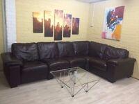 Long Brown Leather Corner Sofa