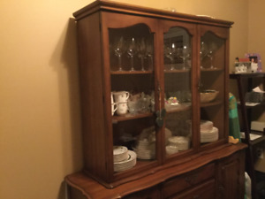 Vintage Maple Table, Buffet and Hutch, 4 Chairs