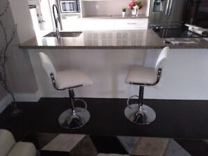 CONTENTS MOVING SALE - 2 WHITE BARSTOOLS