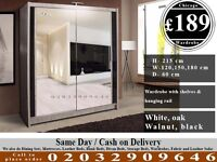 FULL MIRROR SLIDING WARDROBE DOORS HAVY QUALITY WALLNUT WHITE BLACK Weed