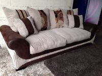Kirk 3 Seater Sofa Scatter Back - Cream, Brown, Cord, Faux Leather/Suade