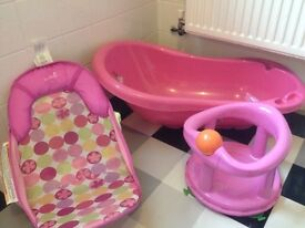 Baby bath, sit up chair and seat