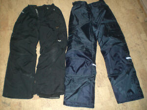 2 Kids' Snow Pants size 10/12 blue and size Large black