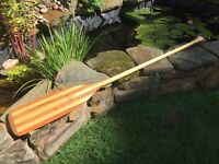 handmade stunning wooden canoe/ rowing/ paddle