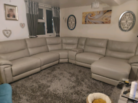 8 seater corner sofa, Grey,two recliners chairs, chaise longue,drinks