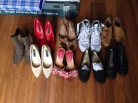 Various types of ladies shoes