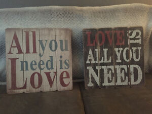 """All you need is love"" ""Love is all you need"" wall decor"