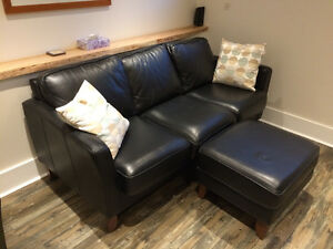 High Quality Black leather Couch / Ottoman - EXCELLENT condition