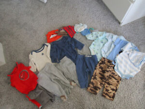 0-3 months baby body suits and sweat pants.