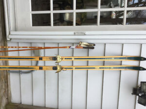Vintage, Classic Bonna Wood Cross Country Skis and Poles $45