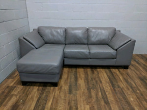 (Free Delivery) - Palliser grey leather sectional sofa