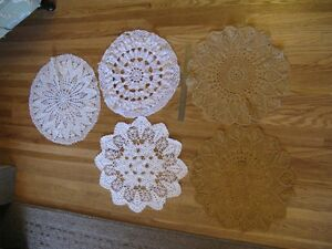 5 Assorted Large Doilies - great for vintage wedding decor.