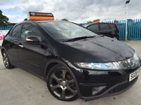 2009 - 09 Honda Civic 2.2 I CTDI - BLACK - MOT MAY 2016 - LEATHER INTERIOR - ALLOYS - FREE WARRANTY