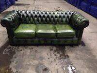 Genuine original green chesterfield sofa settee leather antique