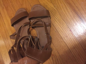 BROWN gladiator ankle sandals