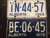 1966 and 1970 license plates