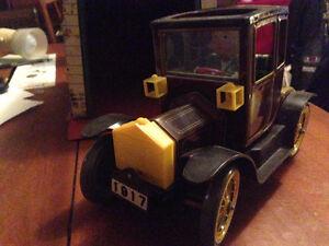 Tin Car with Tin Garage