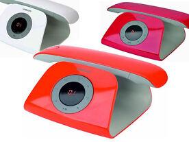 Logicom Retro Telefon Schnurlostelefon mit integriertem Anrufbeantworter