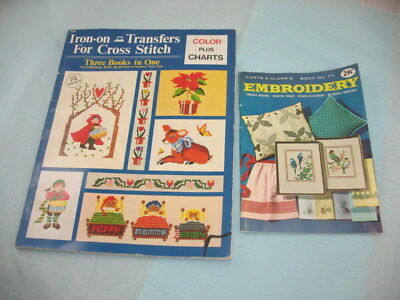 2 Vintage Books Embroidery & Cross-stitching ~ BOTH WITH TRANFERS ~ 53N7H