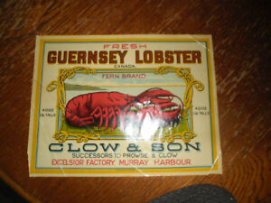 Guernsey Brand Lobster Crate End Label Prince Edward Island