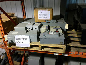Various electrical control boxes,starter boxes,disconnects.