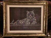 "Beautiful large white tiger picture, 32"" x 26"""