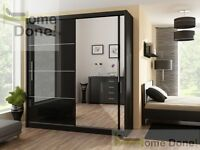 **7-DAY MONEY BACK GUARANTEE**- Victor High Gloss Sliding Door Wardrobe in Black / White -BRAND NEW!