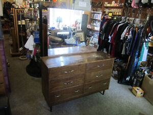 6 Drawer Wood Dresser With Matching Mirror For Sale