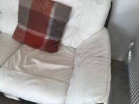Large corner settee + electric recliner chair in leather
