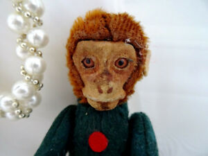 SCHUCO monkey PERFUME BOTTLE bellhop MOHAIR 1920s tin POSEABLE