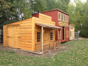 Garden shed kids playhouse western cabin pinterest patio for Kids cabin playhouse