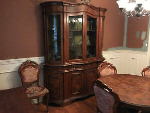 Antique walnut dining room table and display