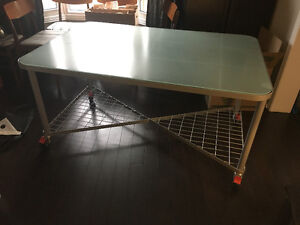 Modern Glass-Top Metal Desk/Table on Casters