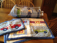 Pottery Barn Kids Queen Quilt and Shams, Cars