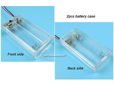2pcs New 2 X Aa Battery Holder Box Case With Switch White Color S462